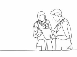 One single line drawing of young male doctor discussing with female Arabic doctor while standing at the hospital hallway. Medical health care concept continuous line draw design vector illustration
