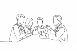 One continuous line drawing team of doctor diagnosing illness while reading patient medical record at the meeting room. Hospital health care concept single line draw graphic design vector illustration