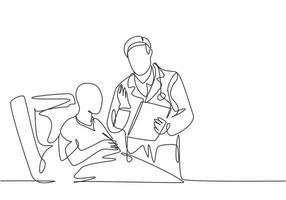 One single line drawing of young male doctor discuss positive health progress with old cancer patient who laying on hospital bed. Medical care concept continuous line draw design vector illustration
