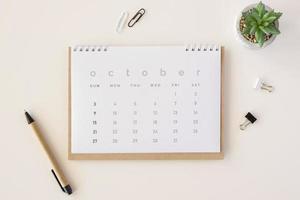 vista superior planificador calendario planta suculenta foto