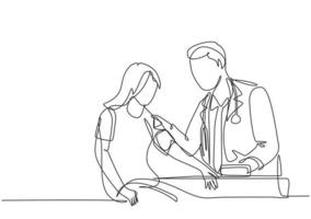 Single continuous line drawing of young male doctor examining young woman patient pulse rate and blood pressure using tensiometer. Medical treatment concept one line draw design vector illustration