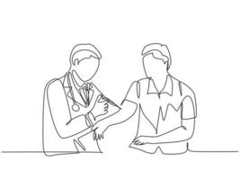 Single continuous line drawing of young male doctor giving vaccine injection to male patient to cure his illness. Medical health care treatment concept one line draw graphic design vector illustration