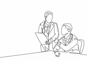 One continuous line drawing of two young doctor discuss and diagnosing patient illness from their x-ray photo result. Hospital health care service concept single line draw design vector illustration