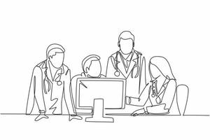 One continuous line drawing group of young doctor discuss proper treatment while watching patient medical report on computer. Hospital health care concept single line draw design vector illustration