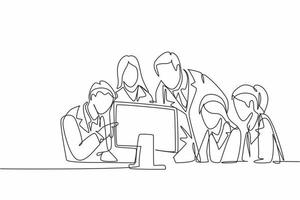 One continuous line drawing group of male and female doctor discus while watching patient health medical report on computer. Hospital health care concept single line draw design vector illustration