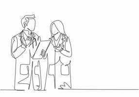 Single continuous line drawing of young male and female doctors talking and discussing patient medical record. Medical health workers service concept one line draw design graphic vector illustration
