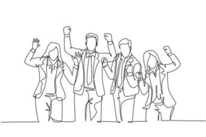 One continuous line drawing of young happy promoted man woman manager line up neatly on office meeting room together. Business teamwork celebration concept single line draw design vector illustration