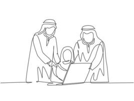 Single continuous line drawing of young happy muslim workers watching business training video on laptop. Arab middle east cloth shmagh, hijab, thawb, robe. One line draw design vector illustration