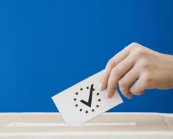 sideways woman being involved european election photo
