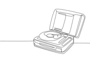 One single line drawing of retro old classic portable music turntable vinyl disc jockey. Vintage analog audio player item concept continuous line graphic draw design vector illustration