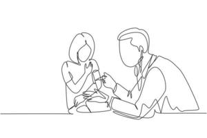 One single line drawing of male pediatric doctor giving vaccine injection to young beauty girl patient at hospital. Medical healthcare treatment concept continuous line draw design vector illustration