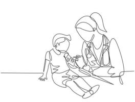 Single continuous line drawing of female pediatric doctor giving vaccine immunization injection to young boy patient. Medical health care treatment concept one line draw design vector illustration