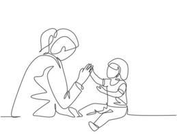 El dibujo de una sola línea continua de una joven doctora pediatra invitó a un lindo bebé niño a jugar y seguir sus instrucciones. concepto de tratamiento médico diseño de dibujo de una línea ilustración vectorial vector