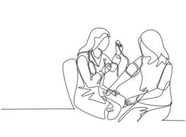 One continuous line drawing of young female doctor checking patient pulse rate and blood tension using tensiometer. Medical health care treatment concept single line draw design vector illustration
