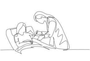 One continuous line drawing of young female doctor giving antibiotic injection to the patient who laying weakly in the bed. Medical health care concept single line draw design vector illustration