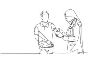 Single continuous line drawing of young female doctor giving vaccine injection to cure sick male patient at hospital. Medical health care treatment concept one line draw design vector illustration