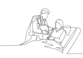 One single line drawing of young doctor show great result of medical record to the patient who laying at hospital bed. Medical health care concept continuous line draw design vector illustration