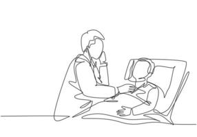 One single line drawing of young male doctor examining patient health condition and checking his pulse rate. Medical health care treatment concept continuous line draw design vector illustration