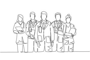 Single continuous single line drawing group of talented male and female doctors standing and posing together at hospital. Medical health care treatment concept one line draw design vector illustration