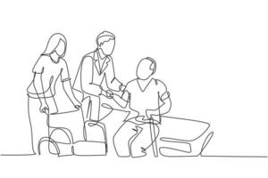One single line drawing of young male doctor helping old patient get to wheelchair from hospital bed. Trendy medical health care service concept continuous line draw design vector graphic illustration