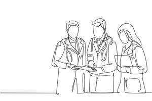 One continuous line drawing of senior doctor giving mentoring to the young male and female doctors at the hospital hallway. Hospital health care concept single line draw design vector illustration