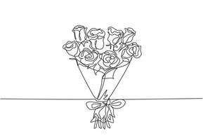 dibujo de una sola línea continua de un hermoso ramo de flores de rosas frescas. Tarjeta de felicitación de belleza dinámica, invitación, logotipo, pancarta, concepto de póster Ilustración de vector gráfico de diseño de dibujo de una línea