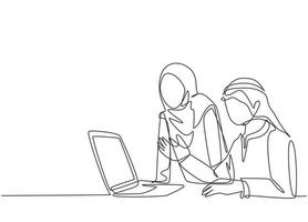 One continuous line drawing of young muslim business couple discussing business proposal to prospective investor. Islamic clothing kandura, scarf, hijab. Single line draw design vector illustration