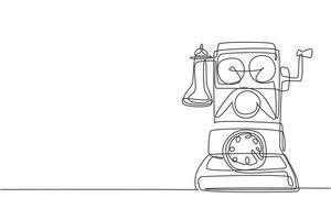 un dibujo de una sola línea del viejo teléfono analógico de pared vintage para comunicarse. concepto de dispositivo de telecomunicaciones clásico retro. Gráfico de ilustración de vector de diseño de dibujo de línea continua