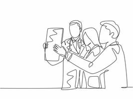 One single line drawing group of team doctor discussing and diagnosing patient x-ray photo result at hospital. Medical health care service concept continuous line draw design vector illustration