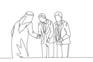 un dibujo de línea continua del joven empresario musulmán se inclina para respetar a su colega japonés. empresarios de Arabia Saudita con shemag, kandura, bufanda. Ilustración de vector de diseño de dibujo de una sola línea