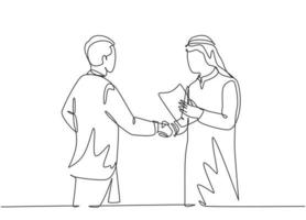 Single continuous line drawing of young muslim business man deal a project with his colleague. Arab middle east businessmen with shmagh, kandura, robe cloth. One line draw design vector illustration
