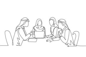 One single line drawing of young happy muslim company employees discussing financial budget plan. Saudi Arabia cloth hijab, kandora, headscarf, thobe. Continuous line draw design vector illustration