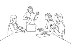 Single continuous line drawing of young muslim businessman presenting proposal business to prospective investor. Arab middle east cloth kandura, thawb, robe. One line draw design vector illustration
