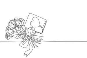 Un dibujo de línea continua de una hermosa flor rosa romántica fresca con una tarjeta de felicitación de amor. Invitación moderna, logotipo, pancarta, concepto de póster, diseño de dibujo de una sola línea, ilustración gráfica de vector