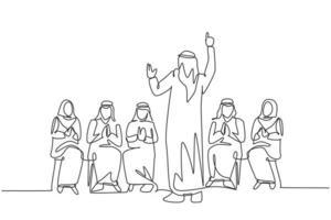 un dibujo de una sola línea de un joven entrenador de negocios musulmán feliz que enseña cómo hacer una buena presentación. tela de arabia saudita shmag, kandora, pañuelo en la cabeza, thobe. Ilustración de vector de diseño de dibujo de línea continua