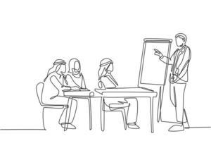 un dibujo de línea continua de un joven entrenador de negocios musulmán que enseña cómo iniciar un negocio sin capital. ropa islámica shemag, kandura, bufanda keffiyeh. Ilustración de vector de diseño de dibujo de una sola línea