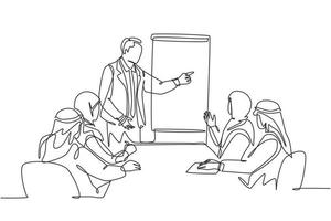 One continuous line drawing of young muslim business coach deliver business training at company meeting. Islamic clothing shemag, kandura, scarf, keffiyeh. Single line draw design vector illustration