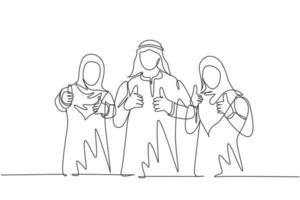 dibujo de una sola línea continua del joven gerente general musulmán con sus asistentes haciendo gestos con el pulgar hacia arriba. tela árabe de Oriente Medio kandura, thawb, bata. Ilustración de vector de diseño de dibujo de una línea
