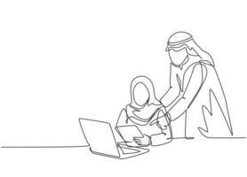 un dibujo de una sola línea del joven gerente de una pareja musulmana feliz enseña a analizar datos de la base de datos. tela de arabia saudita kandora, pañuelo en la cabeza, thobe, hijab. Ilustración de vector de diseño de dibujo de línea continua