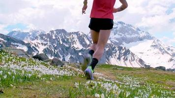 Mountain runner on flowers of flowers in downhill spring video