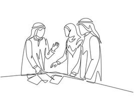 Single continuous line drawing of young muslim startup founder discussing business proposal with team member. Arab middle east cloth kandura, thawb, robe, hijab. One draw design vector illustration