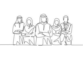 One continuous line drawing group of young muslim and multi ehtnic businessman businesswoman line up together. Islamic clothing scarf, keffiyeh, hijab suit. Single line draw design vector illustration