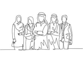 One continuous line drawing group of young muslim and multi ethnic manager pose standing together. Islamic clothing shemag, kandura, scarf, hijab, veil. Single line draw design vector illustration