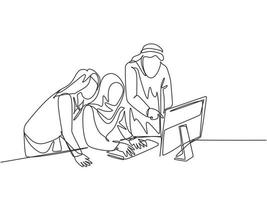 One single line drawing of young muslim employees discussing business proposal with colleagues. Saudi Arabia cloth kandora, headscarf, thobe hijab. Continuous line draw design vector illustration
