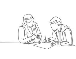 Single continuous line drawing of young muslim sign a business deal agreement contract with his colleague. Arab middle east cloth shmagh, kandura, robe, hijab. One draw design vector illustration