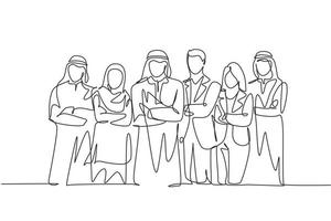 One continuous line drawing group of young muslim and multi ethnic businesspeople line up neatly. Islamic clothing shemag, kandura, scarf, hijab and suit. Single line draw design vector illustration