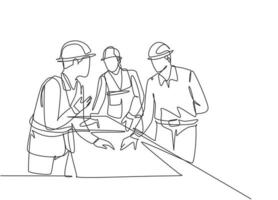 One continuous line drawing of young architects discussing construction design blueprint at office meeting. Building architecture business concept. Single line draw vector graphic design illustration