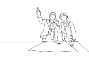 Single continuous line drawing of young construction manager giving instruction to builder coordinator at site meeting. Building architecture business concept. One line draw design vector illustration
