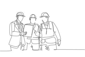 One continuous line drawing of young managers explaining short brief about construction concept to construction builders. Building architecture business concept. Single line draw design illustration vector