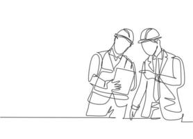 One single line drawing of young construction manager giving instruction to foreman coordinator. Building architecture business concept. Continuous line draw design vector graphic illustration